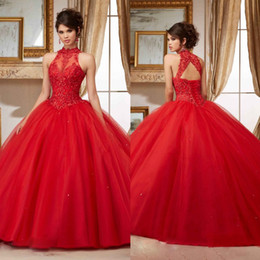 Wholesale Pink Debutante Gowns - Red Beaded Quinceanera Dresses Sheer High Neck Sweet 16 Masquerad Lace Appliqued Ball Gowns Tulle Debutante Ragazza Dress