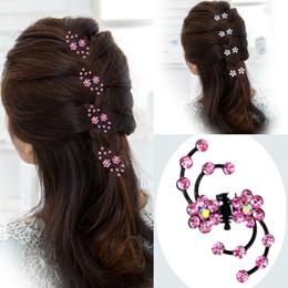Wholesale Claw Hair Pins - 7 Sets Fashion Women Girls Rhinestone Crystal Flower Hair Clips Claws Bridal Hair Pins Jewelry Accessories 6 Pcs Set