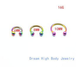 Wholesale 6mm stainless steel balls - Rainbow Horseshoe 316L Surgical Steel Nostril Nose Ring circular piercing ball Horseshoe Rings CBR ring earring16G 6MM 8MM 10MM