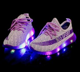Wholesale Dmx Led Light Outdoor - 2017 new 3 Colors 350 BOOST kids LED Luminous sneakers Boys and girls shiny Running Sports light up Shoes booties toddler shoes