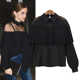 Wholesale High Quality Sleeves Long Blouse - 2017 chiffon blouse Tops women long sleeve white black color oversize plus size high quality off the shoulder hollow out blouse shirt