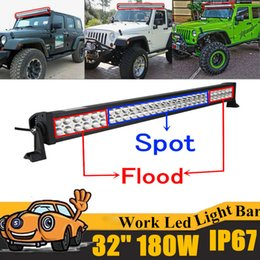 Wholesale Led Strip Car 24v - 180W 32 inch LED Work Light Bar Offroad Boat Car Tractor Truck 4x4 4WD SUV ATV 12V 24V Spot Flood Combo Strip Lights with Mounting Bracket