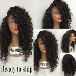 Wholesale Mongolian Kinky Hair Wig - 8A Lace Front Human Hair Wigs Mongolian Full Lace Human Hair Wigs For Black Women Kinky Curly Wig 130% Curly Lace Frontal Wigs
