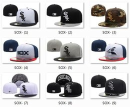 Wholesale Mens Street Hats - Wholesale Chicago White Sox Baseball Caps Fitted Hats Fashion Hip Pop Sox Street Hats Summer Snap Backs Sun Hats Mens Sporting Ball Cap
