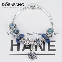Wholesale Snowflakes Beads - DORAPANG 925 Sterling Silver Bracelet Snowflakes Pendant Radiant Heart Beads Collocations Set Suitable Fit Women DIY Bangles Send The Boxs