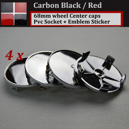 Wholesale Carbon Fiber Bmw Emblems - 68mm 2.68inch Carbon fiber black red pvc badge car wheel center Hub Caps Emblem Rims car caps 4x 20x 100x for E46 E36 E39 E38 E90 E60 M3 M5