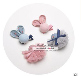 Wholesale wedding hairclips - Rabbit gauze ball barrettes hairclips set kids baby pink princess hair accessories bb clip bang clip wedding party birthday gifts