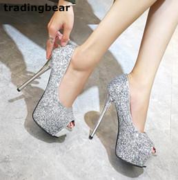 Wholesale Glitter Platform Wedding Shoes - Sparkly silver sequined high heel platform peep toe pumps party prom wedding shoes silver black size 34 to 39