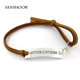 Wholesale Message Stamp - Fashion Polished Silver Plated Stamped Rectangle Inspirational Message Let Your Light Shine Charm Leather Bracelet Girls Jewelry 30pcs lot
