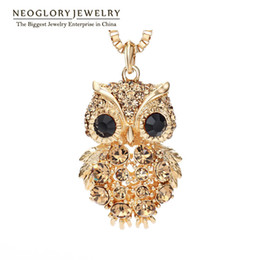 Wholesale Owl Chain Earrings - 2017 Neoglory Czech Rhinestone Light Yellow Gold Color Fashion Owl Long Sweater Chain Necklaces for Women Jewelry 2017 New Brand for