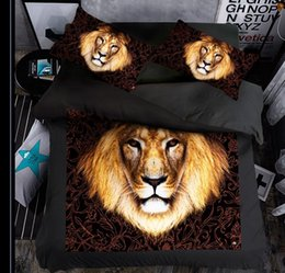 Wholesale Lion Print Bedding Set - special lion New Design Bedding set 1 PC Bed sheet 1PC Comforter Cover 2 PCS Pillow Covers Comfortable Fashion