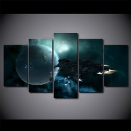 Wholesale Impressionist Drawings - 5 Pieces Canvas Art Space spaceship and Star Painting hd Printed Wall art Modular Picture For Drawing room Home decor Movie poster