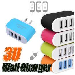 2019 reise-stecker-set Wand-Ladegerät Reise-Adapter für Iphone 7 Bunte Haus-Stecker LED USB-Ladegerät für Samsung S6 3 Häfen USB-Ladegerät