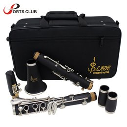 Wholesale clarinet cases - Wholesale-Clarinet ABS 17 Key bB Flat Soprano Binocular Clarinet with Cleaning Cloth Gloves 10 Reeds Screwdriver Case Woodwind Instrument