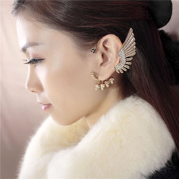 Wholesale Without Piercing Ear Studs - New Personality Gold Skeleton Angel Cool wings Tassels Earrings Ear Clip Without Ear Piercing; Sold by Piece; For Women Wholesale