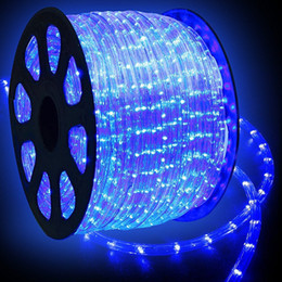 Wholesale 15m Blue Strip - 110V 220V 15M 30M 45M 90M Flexible 2-Wire Waterproof LED Rope Light Kit for Background Outdoor Decorative Lighting Christmas Strip Lights