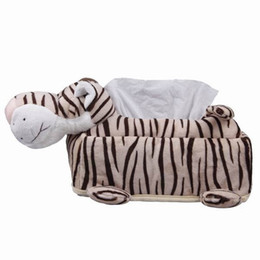 Wholesale Tissue Boxes For Cars - Wholesale- 1pc Modern White and Black Brindle Leopard Plush Durable Removable Tissue Box Holder For Room Car Tissue Boxes