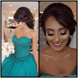 Wholesale Lace Up Turquoise Prom Dresses - Turquoise Ball Gown Sweet 16 Quinceanera Dresses Plus Size Major Beading Sweetheart Corset Tulle Long Party Prom For Girls 2017 Arabic
