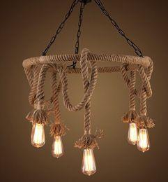Wholesale Fluorescent Rope Light - new arrivals lampara rope vintage Pendant lights retro Industrial Edison Lamps nordic Loft light Fixtures Lustre Industriel Lamp LLFA