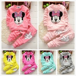 Wholesale Toddler Yellow Trouser - Toddlers Baby Mickey Cartoon Clothing Sets Outfits Spring Fall Infant Girls Long Sleeve Shirts Pants Trousers Suits Children Kid Clothes