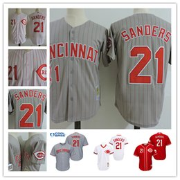 Wholesale Mens Jersey Vest - Mens Cincinnati Reds DEION SANDERS White cool base vest Jerseys 1997 gray #21 DEION SANDERS Throwback Cooperstown baseball Jersey S-3XL