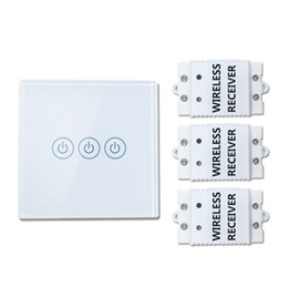 Home light kit online-Saful inalámbrico 433MHZ control remoto interruptor táctil 3 Gang 3 Way Smart Home interruptor de larga distancia con 3 receptores Wall Light Touch Switch