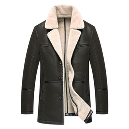 Wholesale Fur Cashmere - Sheepskin Coats Shearling Mens Leather Jackets Fur Coats Warm Thick Outwear Overcoat Windbreaker Tops Plus Size High Quality