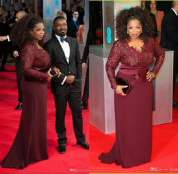 Wholesale Oprah Dresses - 2017 Hot Oprah Winfrey Burgundy Plus Size Mother of the Bride Dresses Sheath V-Neck Sheer Lace Celebrity Red Carpet Party Dresses