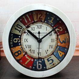Wholesale Arabic Numbers Clock - Wholesale-European Classic Iron Drawing Style 3D Rivet Antique Desk Alarm Clock Digital Clock Roman Numerals Arabic Numbers Home Decor
