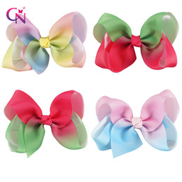 Wholesale Rainbow Small - 4 Inch Jojo Rainbow Small Watermelon Bestie Hair Bows Pink& Blue Ombre Hair Clips For Kid Girl
