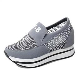 Wholesale Thick Sole Platform Shoes - Wholesale-2016 Summer High Quality Air Mesh Shoes Women Flat Platform Fashion Women's Casual Shoes Brand Thick Sole Breathable CH415