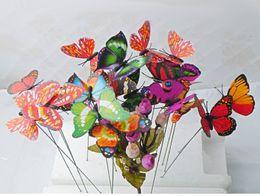 Искусственные колышки бабочки с длинным стеблем, 25 штук в наборе, используемые в украшениях для сада и огорода cheap butterfly garden plants от Поставщики садовые растения бабочки