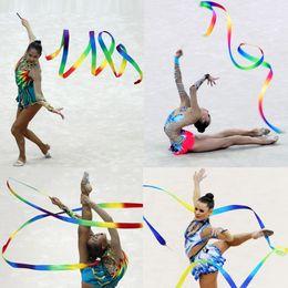 4m bambini bambini palestra danza nastro ginnastica ritmica ginnastica arte ginnastica balletto streamer twirling rod giocattolo per bambini muilticolor da regali ginnastici fornitori
