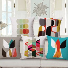 Wholesale Wholesale Geometric Pillow Cushion - Newly Colorful Geometric Throw Pillow Cover Quality Cotton Linen Cushion Cover Digital Printing Decorative Pillow Case 45*45cm
