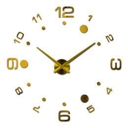 Wholesale Vintage Sticker Set - Wholesale- 2016 New vintage Wall Clock Acrylic Clocks Quartz Watch Reloj De Pared Living Room Modern 3d Mirror Stickers Horloge Home Klok