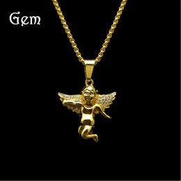 Wholesale Wing Heart Necklace Diamond - High Quality Hot Men Hip Hop Angel Masonry Necklace Diamond Wings Little Angel Hip Hop Pendant Gold Necklace Wholesale