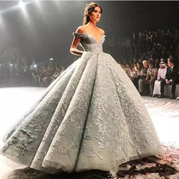 Wholesale Tulle Full Length Pink Prom - Evening Dresses 2017 New Dubai Arabic New Luxury Off Shoulder Full Lace Beaded Ball Gown Silver Gray Floor Length Party Dress Prom Gowns