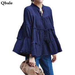 Wholesale Korean Batwing Fashion - Wholesale- Qbale plus size tops women 2017 Korean fashion vogue linen cotton shirts long sleeve kawaii loose baby doll batwing tops