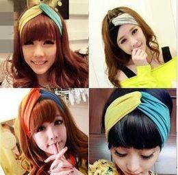 Wholesale Korean Headgear - Korean fashion hair color and retro super wide cross ribbon Yoga headgear headband scarves wholesale