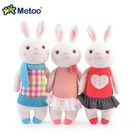 Wholesale Doll Metoo Plush Toys - Wholesale-Tiramisu rabbit plush toys Metoo doll kids gifts 8 style,35cm Bunny Stuffed Animal Lamy Rabbit Toy with Gift Box, Birthday Gifts
