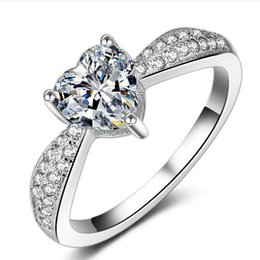 Wholesale Fine Cz Jewelry - Fine Jewelry Heart Silver Ring Real 925 Sterling Silver Wedding Rings For Women Heart CZ Diamond Engagement Rings Jewelry