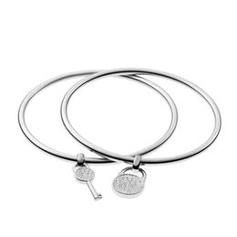 Wholesale Wholesale Jewelry Key Charms - New York Fashion lovers Bangles key padlock charm bracelets fashion brand designer jewelry for couples women girls