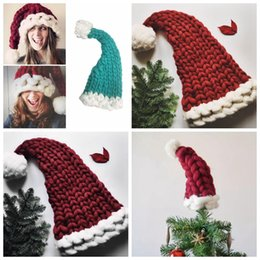 Wholesale Yarn Santa - Christmas Winter Warm Raccoon Fur Beanie Cap Cotton Knitted Winter Vogue Crochet Santa Claus Beanie Hats Women Parent-Child Hat Xmas YYA619