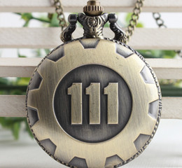 Wholesale Wholesaler Pocket Watches - Wholesale-Wholesale 10 PCS Arrive Game Extensions Fallout 4 Shelter Theme Pendant Vault 111 High Quality Brown Quartz Pocket Watch
