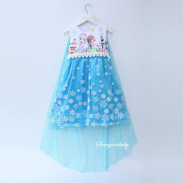 Wholesale Clothing For Stage Performance - 2017 Elsa Sofia princess dresses for girls sleeveless Snow long Tulle party birthday gifts Beads dress Kids clothing dress Blue pink