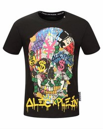 Wholesale Solid Colorful Shirt - 2017 Germany Brand mens cotton o-neck colorful rhinestone big skulls short sleeve T-shirt comfort fashion casual Tee NWT 2 color