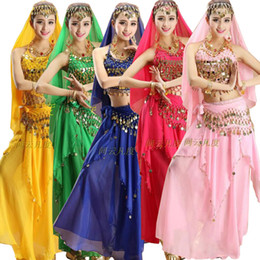 Wholesale Dance Dress Womens - 3pcs Sets Sexy India Egypt Belly Dance Costumes Bollywood Costumes Indian Dress Bellydance Dress Womens Belly Dancing Costume