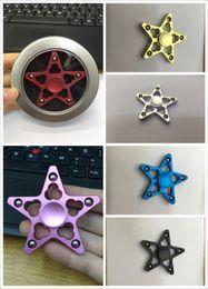 Wholesale Wholesale Bike Prices - Pentagram Star 6color Fidget Spinner Metal Hand Spinner Aluminum Clover Cut out Designer Cooler Quieter Smooth Wholesale Price DHL