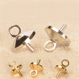 Wholesale Crystal Bail - wholesale  200PCS Brass Gold Rhodium Bail Connectors Pendant Beads Cap For Pearl  Crystal Bead DIY Jewelry Findings 534bz