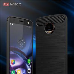 Wholesale Shell Carbon - Hybrid Armor Case For Motorola Moto Z Moto Z Play Moto Z force Moto G5 Plus Carbon Fibre Brushed Silicone Phone Case Shell